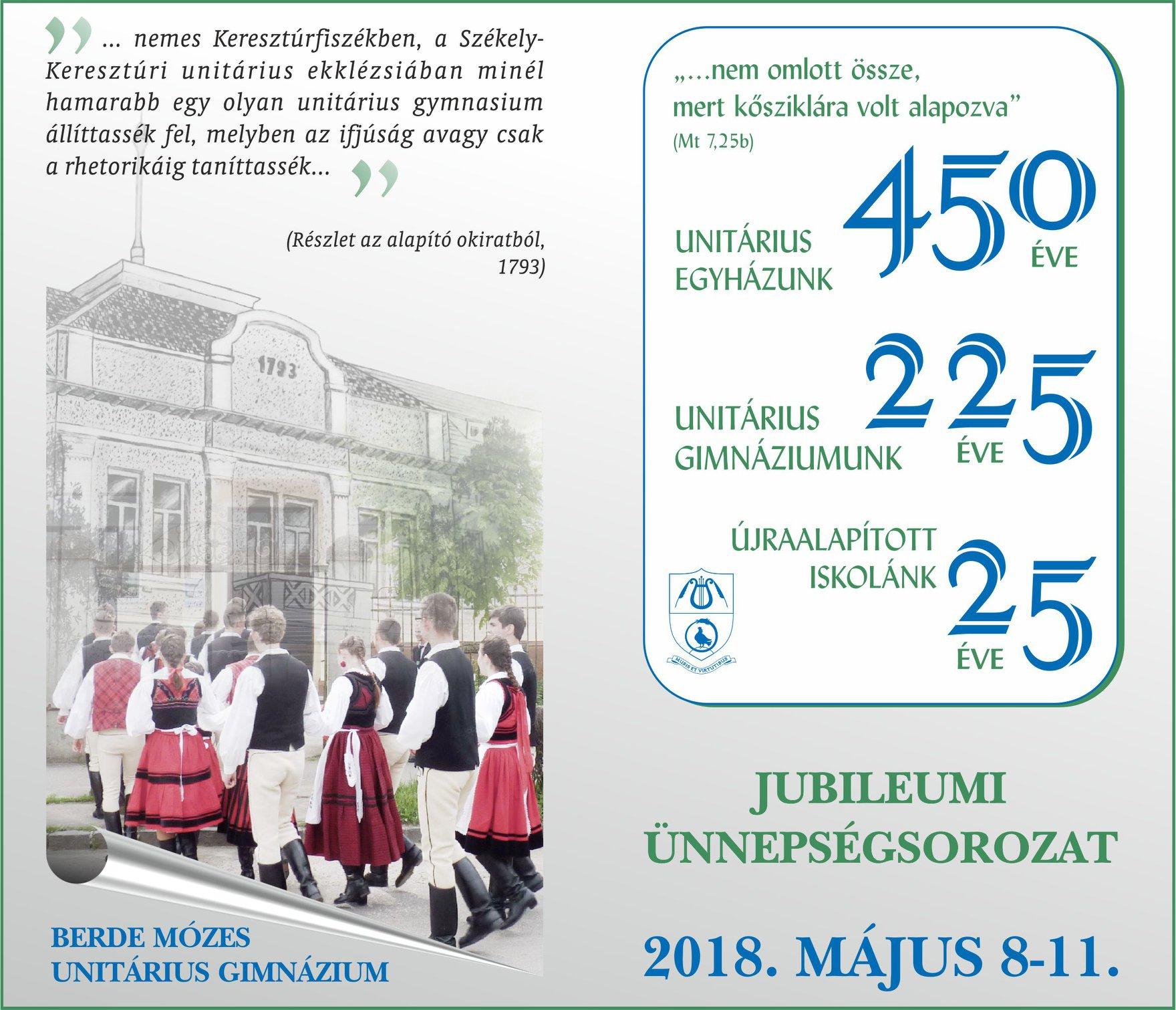 Berde Mózes Unitárius Gimnázium jubileumi ünnepségsorozat