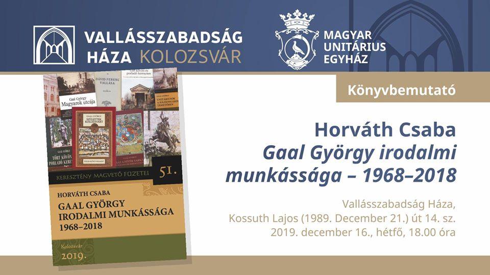 Gaal György irodalmi munkásság – könyvbemutató
