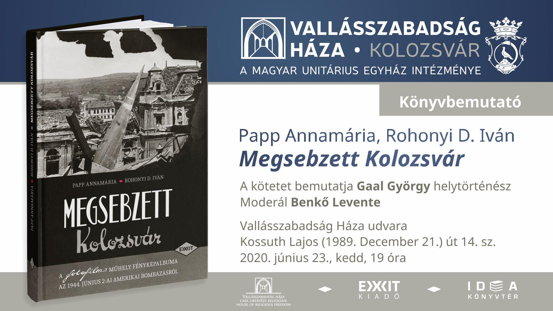 Megsebzett Kolozsvár könyvbemutató a Vallásszabadság Házában